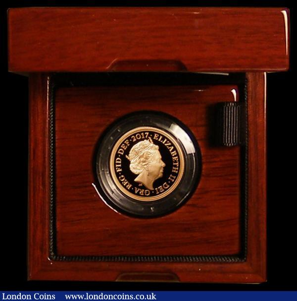 Sovereign 2017 Gold Proof Piedfort, George and the Dragon within Order of the Garter S.SC12 200 Years of the Pistrucci reverse design, Only 3750 minted, The first ever UK Gold Piedfort Sovereign issue. FDC in the Royal Mint box of issue with certificate.  : English Cased : Auction 168 : Lot 536