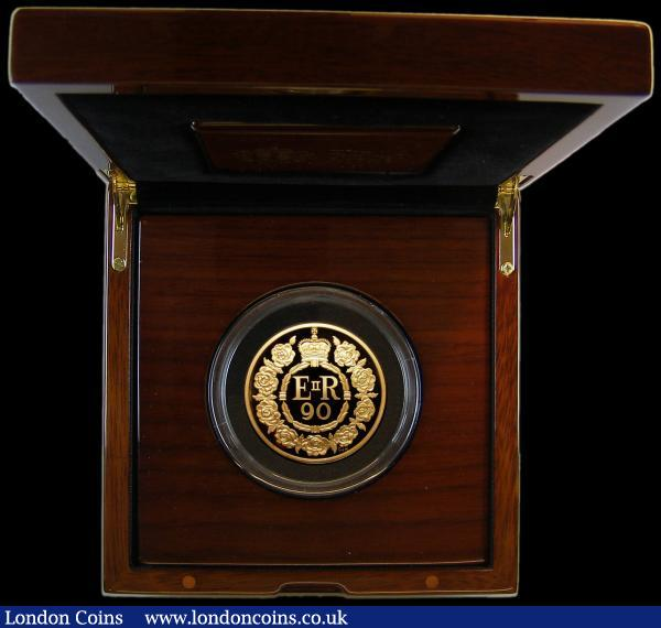 Ten Pounds 2016 Queen Elizabeth II 90th Birthday 5oz. Gold Proof S.M8 nFDC with a small tone spot on the obverse rim, in the Royal Mint box of issue with certificate number 056, only 170 pieces issued with just 150 in this format : English Cased : Auction 168 : Lot 566