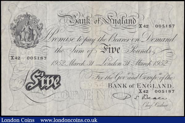 Five Pounds Beale White note B270 Thin paper Metal thread dated 31st March 1952 serial number X42 005187 London branch and an original GVF. Printed at St. Luke's Works, London : English Banknotes : Auction 168 : Lot 57