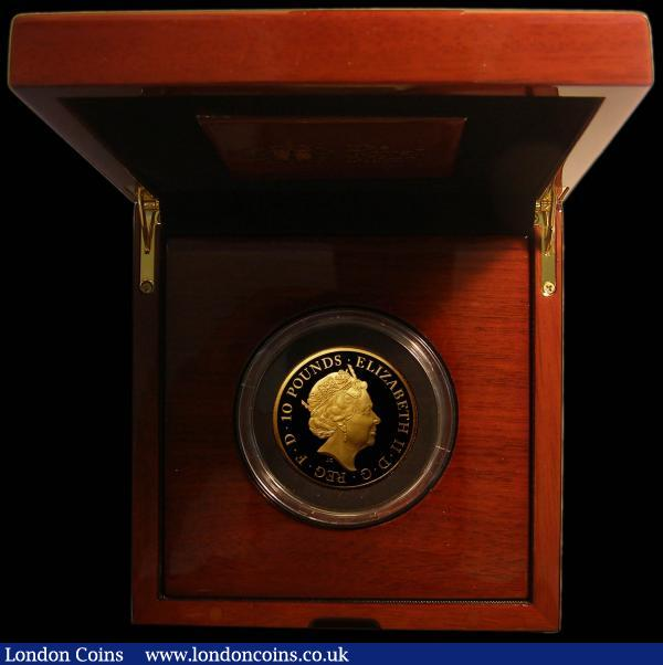 Ten Pounds 2018 Queen Elizabeth II Sapphire Coronation 1953-2018 5oz.Gold Proof S.M11 FDC in the Royal Mint box of issue with certificate number 47 of a low mintage of just 85 pieces, only 80 being in this format, the first we have offered and sure to become a sought after issue : English Cased : Auction 168 : Lot 575