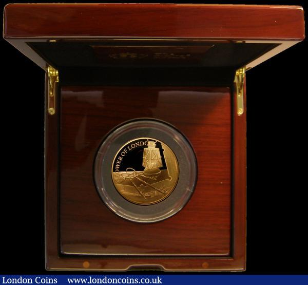 Ten Pounds 2019 The Tower of London - Ceremony of the Keys 5oz. Gold Proof FDC in the Royal Mint box of issue with certificate.  Only 45 minted, with just 35 in this presentation format, with this tiny mintage, sure to become a sought after series. All four of the 2019 Gold 5oz. Tower of London issues are offered here in this sale, collectors for these impressive modern pieces will be able to purchase the entire set together : English Cased : Auction 168 : Lot 577