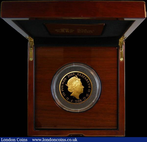 Ten Pounds 2019 The Tower of London - Legend of the Ravens 5oz. Gold Proof FDC in the Royal Mint box of issue with certificate and booklet. Only 45 minted, with just 35 in this presentation format, with this tiny mintage, sure to become a sought after series. All four of the 2019 Gold 5oz. Tower of London issues are offered here in this sale, collectors for these impressive modern pieces will be able to purchase the entire set together : English Cased : Auction 168 : Lot 578