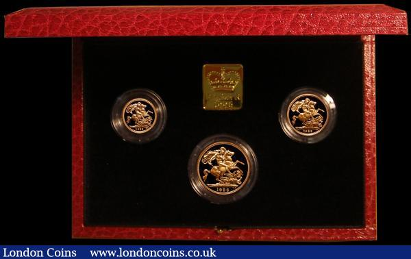 The 1996 United Kingdom Gold Three Coin Sovereign Collection, Two Pounds, Sovereign and Half Sovereign FDC with certificate in the original case of issue : English Cased : Auction 168 : Lot 586