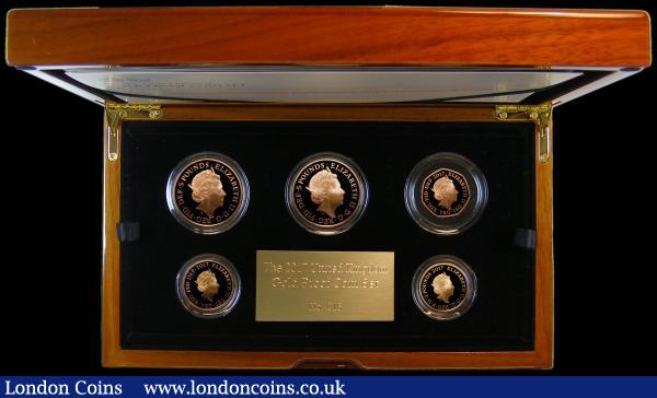 The 2017 United Kingdom Gold Proof Set a 5-coin set S.PGC20, comprising Five Pound Crown 2017 Centenary of the House of Windsor S.L49, Five Pound Crown 2017 1000th Anniversary of the Coronation of King Canute S.L50, Two Pounds (2) 2017 World War I - The War in the Air S.K44, 2017 200th Anniversary of the Death of Jane Austen S.K45, Fifty Pence 2017 Isaac Newton S.H39 all Gold Proofs, FDC in the Royal Mint box of issue, a rare and desirable set, this being number 16 of only 100 sets produced : English Cased : Auction 168 : Lot 588