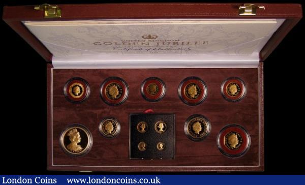 United Kingdom Golden Jubilee Gold Proof Set 2002 the very impressive Royal Mint issue comprising 2002 £5 Crown, £2 ,£1, 50/20/10/5/2 and 1 Pence plus Maundy Money all struck in gold, S.PGJS1, the Penny and Five Pence with light toning. The Maundy Set with full original brilliance. nFDC to FDC in the Royal Mint box of issue with certificate : English Cased : Auction 168 : Lot 631