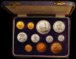 London Coins : A168 : Lot 709 : South Africa Proof Set 1953 (11 coins) KM#PS26 Gold Pound, Gold Half Pound and Crown to Farthing UNC...