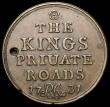 London Coins : A168 : Lot 925 : Ticket or Pass 1731 THE KINGS PRIUATE ROADS 31mm diameter in bronze,. With surveyors initials RA (Ri...
