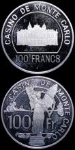 London Coins : A169 : Lot 1021 : Monaco 100 Francs Casino Tokens (2) both undated (1977), in sterling silver 39mm diameter 20.21 and ...