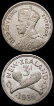 London Coins : A169 : Lot 1031 : New Zealand Sixpence 1937 KM#8 NEF/EF, Threepence 1936 KM#1 AU/UNC with subdued lustre and some toni...