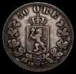 London Coins : A169 : Lot 1032 : Norway 50 Ore 1877 KM#356 Good Fine with some thin scratches on the obverse field, a scarce date, pr...