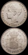 London Coins : A169 : Lot 1088 : Spain One Peseta (2) 1899 (99) SG-V KM#706 GEF and lustrous, 1900 (00) SM-V EF and lustrous