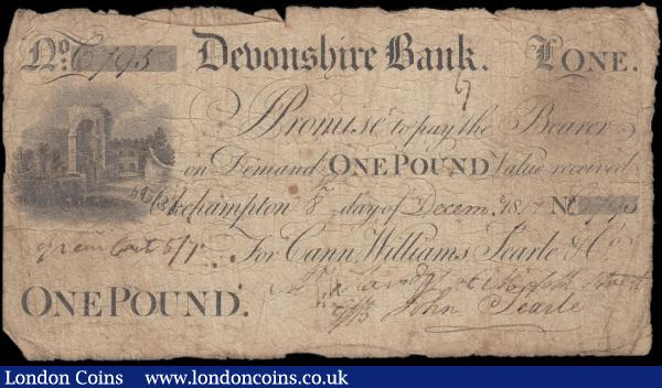 Devonshire Bank, Okehampton 1 Pound dated 8th December 1817 No. C795 For Can, Williams, Searle & Co. and multiple manuscript signatures for Can, John Searle and others (Outing 1633a; Grant 2184), VG multiple Pinholes in body and the usual inked signatures/annotations on reverse. Black with imprint Ashby & Ball and featuring a vignette with castle ruins at left. The reverse with bank name at bottom and an elaborate design of the Partnership monogram. : English Banknotes : Auction 169 : Lot 110