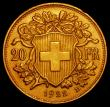 London Coins : A169 : Lot 1102 : Switzerland 20 Francs Gold 1922B KM#35.1 UNC or very near so with an edge nick