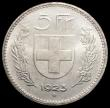 London Coins : A169 : Lot 1104 : Switzerland 5 Francs 1923B KM#37 UNC and lustrous with minor contact marks