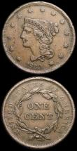 London Coins : A169 : Lot 1116 : USA Cent 1839 Breen 1874 Good Fine with some flan flaws, India One Rupee 1862 CalcuttaKM#473.1 Bust ...