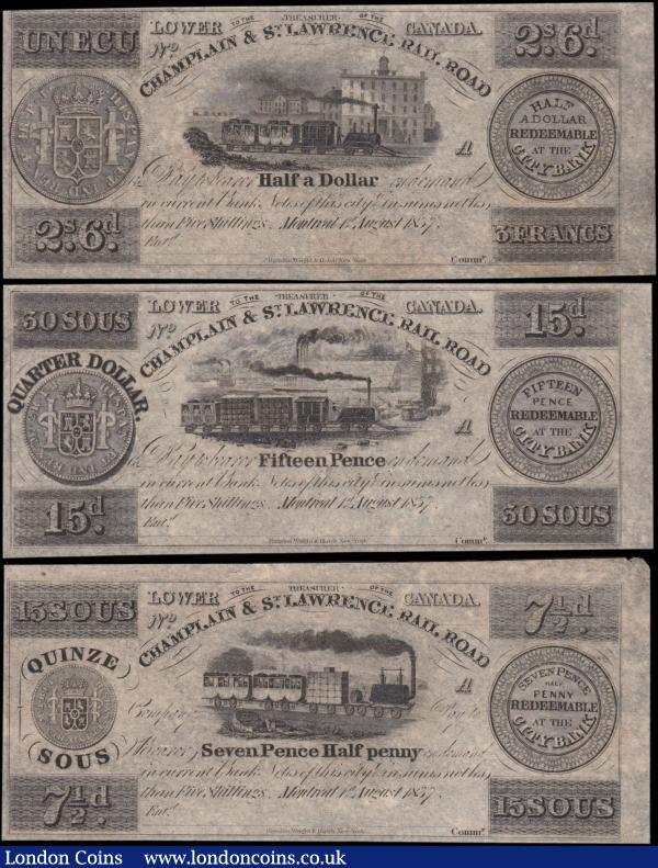 Canada (Lower) Champlain & St. Lawrence Railroad denomination set of 3 unissued remainders all dated Montreal, 1st August 1837 and side A (3) generally about EF - EF and Scarce comprising 7 Pence 1/2 Penny = 15 Sous, this with a 20mm uneven tear at top margin.  A 15 Pence = 30 Sous. And the Half a Dollar = 2 Shillings 6 Pence = 3 Francs. Each note uniface with a different vignette of a passenger steam train at centre and all feature the reverse of different Latin-American coin as follows - the 7 Pence 1/2 Penny has the Mexico 1 Real MO, the 15 Pence - Peru 2 Reals LIMAE and the 1/2 Dollar - a Bolivian 4 Reals PTS. These notes were issued in sheets of six with side B on the left and the side A on the right. An interesting historical fact is that the Champlain and St. Lawrence Railroad was the first public railroad in Canada and one of the first railways in British North America as we now understand the term, although the country had several tram-roads earlier - at least 2, and it was the first to use steam locomotives with a 14 miles of railway in operation, with the first steam locomotive used at the official opening of the railroad on July 21st 1836. : World Banknotes : Auction 169 : Lot 127