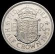 London Coins : A169 : Lot 1602 : Halfcrown 1953 Proof, Obverse 1 Reverse A. Obverse 1 with the weakly struck first portrait, I of DEI...