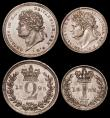 London Coins : A169 : Lot 1641 : Maundy Set 1825 ESC 2429, Bull 2448, an assembled set comprising Fourpence 1825 Fine/Good Fine, Thre...