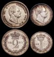 London Coins : A169 : Lot 1642 : Maundy Set 1831 ESC 2436, Bull 2547 EF to GEF with flecks of colourful toning, a nicely matched set