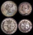 London Coins : A169 : Lot 1645 : Maundy Set 1869 ESC 2481, Bull 3521 GEF to UNC each coin displaying a choice tone, blue/green and go...
