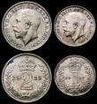 London Coins : A169 : Lot 1654 : Maundy Set 1925 ESC 2542, Bull 3985 EF to GEF with speckled toning, scarce as are many of the 1920s ...