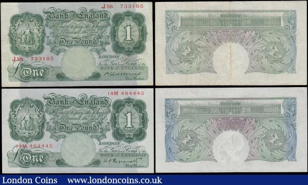 Bank of England 1 Pounds Green Britannia medallion examples circa 1930-40's (4) comprising a Catterns example B225 serial number J58 733105 in about VF and pleasing. Along with Peppiatt examples (3) consisting of First Period B238 Unthreaded Pre-war issues (2) including serial numbers 14M 484445, EF and a LAST series 18Z 736305, in about UNC and very pleasing in this high grade. Accompanied by a Fourth Period B260 Post-War Threaded issue and a FIRST series example serial number S40A 856918, VF - GVF. These notes are always collectable and becoming scarcer with early examples as Catterns approaching the century old mark. : English Banknotes : Auction 169 : Lot 18
