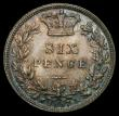 London Coins : A169 : Lot 1823 : Sixpence 1887 Young Head ESC 1750, Bull 3262 an extremely attractive example with original colour, g...