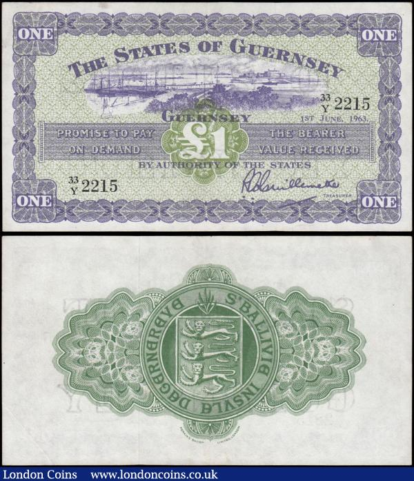 Guernsey (2) both 1960's Guillemette signature issues comprising the 10 Shillings Pick 42b (BY GU32b) last date for this type 1st March 1965 serial number 17/M 3973, lilac & green, VF. Along with the 1 Pound Pick 43b (GU 33b) dated 1st June 1963 serial number 33/Y 2215, purple & green with an illustration of St. Peter Port, Castle Cornet, about EF. Both very collectible examples printed by Perkins Bacon limited, London and the reverses with elaborate guilloche panel displaying a large Guernsey's Seal at centre. : World Banknotes : Auction 169 : Lot 190