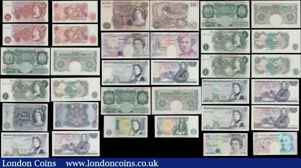 "Bank of England 10 Shillings to 20 Pounds mid 1900's to present, varied examples of designs and cashiers Beale to Cleland (24) all in mixed mostly high grades ranging from VF-GVF to about UNC - UNC. Comprising Beale Green 1 Pounds Britannia medallion issues B268 (2) prefixes A40J & B55C. O'Brien Green 1 Pound Britannia medallion B273 prefix J43K. Hollom QE2 portrait (3) including 10 Shillings B295 prefix 64B, 1 Pound B288 prefix C06R and 5 Pounds B297 prefix H07. Fforde QE2 Portrait (2) consisting of 10 Shillings B310 prefix C41N and 1 Pound B305 prefix S32D. Page (4) 1 Pound QE2 Portrait B322 prefix HU06, 5 Pounds QE2 pictorial B336 L Reverse (2) prefixes including a FIRST series AN08 along with CR78 and a 10 Pounds Lion & Key B326 prefix C45. Somerset QE2 pictorial (3) including 1 Pound  B341 W Reverse prefix AR73 along with a pair of 5 Pounds QE2 pictorial B343 L Reverse (2) prefixes EX06 and DZ25. Kentfield (2) 5 Pounds QE2 pictorial B364 prefix AD48 and a 20 Pounds B375 prefix CH21. Lowther (4) including a pair 5 Pounds B393 (2) prefixes HB23 and JA62, a 10 Pounds B390 ""AND COMPANY"" prefix AJ07 and 20 Pounds B386 prefix AA29. Bailey 20 Pounds B402 prefix DH79. Together with a consecutive pair of the Cleland 5 Pounds Polymer B414 (2) prefix AJ54. : English Banknotes : Auction 169 : Lot 20"