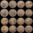 London Coins : A169 : Lot 2065 : Halfpennies (17) Charles II dates not visible (2), 1734, 1738 (2), 1752, 1799 (4), 1806, 1853, 1854 ...