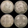 London Coins : A169 : Lot 2099 : Shillings (2) 1758 ESC 1213, Bull 1734 NVF, 1787 Hearts ESC 1225, Bull 2129 GVF the obverse with som...