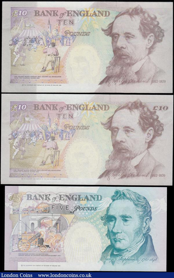 Bank of England 5 and 10 Pounds Kentfield & Lowther FIRST RUN LOW matching serial numbers 997 (3) consisting of 5 Pounds Lowther B380 issue 1999 prefix EA01 along with the 10 Pounds Kentfield of the 2 design types - B366 Crown at upper right issue 1992 prefix A01 and the B369 Denomination at upper right issue 1993 prefix DD01. All UNC and a very desirable set : English Banknotes : Auction 169 : Lot 22