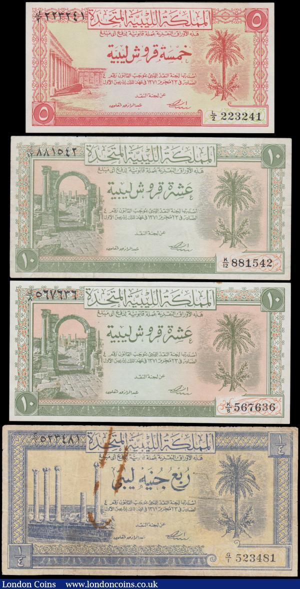 "Libya UNITED KINGDOM Law of 1951 'Libyan Pound' issues (4) in about VF to about UNC comprising 5 Piastres Pick 5 series L/2 223241, red on light yellow underprint - Roman forum at left obverse. 10 Piastres Pick 6 (2) series K/8 567636 and K/12 881542, green on light orange underprint - Trajan arch at left obverse. Together with 1/4 Libyan Pound Pick 7 series G/1 523481, blue on light orange/green underprint -   Ruins of the ""Temple by the Sea"" at left on obverse. A Scarce and interesting group of early UNITED KINGDOM  notes : World Banknotes : Auction 169 : Lot 231"