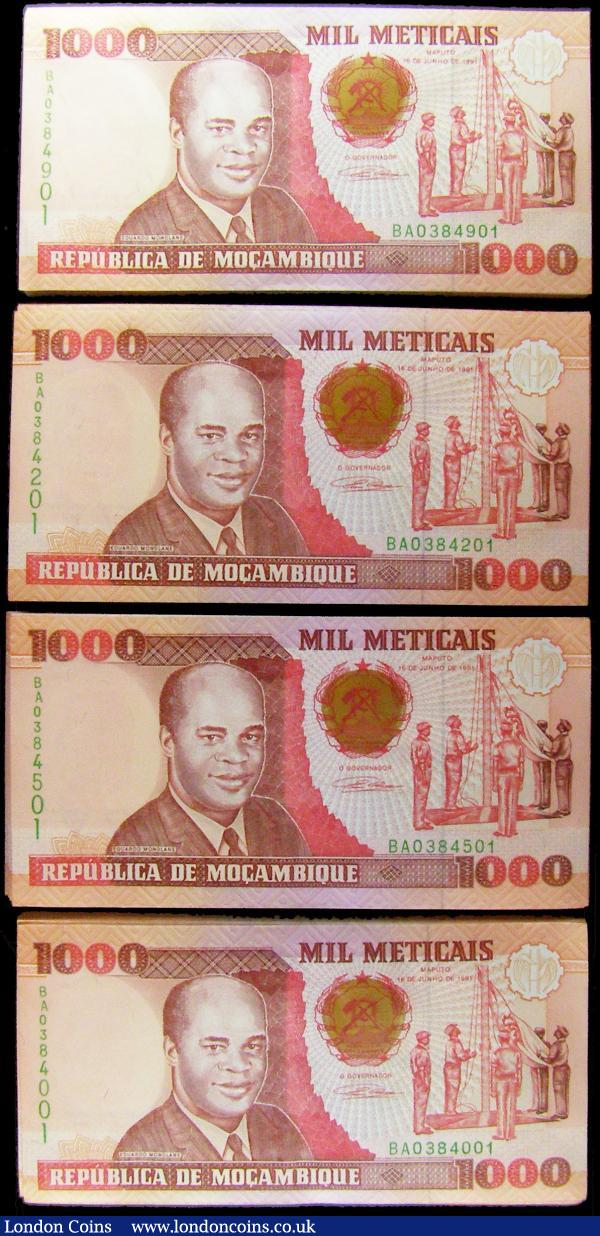 Mozambique Republica 1000 Meticais Pick 135 issues 16th June 1991 (400) in 4 consecutively numbered bundles of 100 notes and all prefix BA numbers falling in the ranges 0384001 - 0384100, 0384201 - 0384300, 0384501 - 0384600 and 0384901 - 0385000. Each note in brown and red on multi-coloured underprint with the obverse featuring E. Mondlane at left, president of the Mozambican Liberation Front from 1962 until his assassination in 1969 with a bomb planted in a book sent to him, also an illustration of the Military flag ceremony and Mozambique's Coat of Arms printed on silver and gold underlay. The reverse showing the Independence monument, Maputo. Printed by Thomas De La Rue & Co. Limited and watermarked J. Chissano, former president of Mozambique and credited with transforming the war-torn country into one of the most successful African democracies. Almost if not all in original fresh and crisp UNC : World Banknotes : Auction 169 : Lot 237