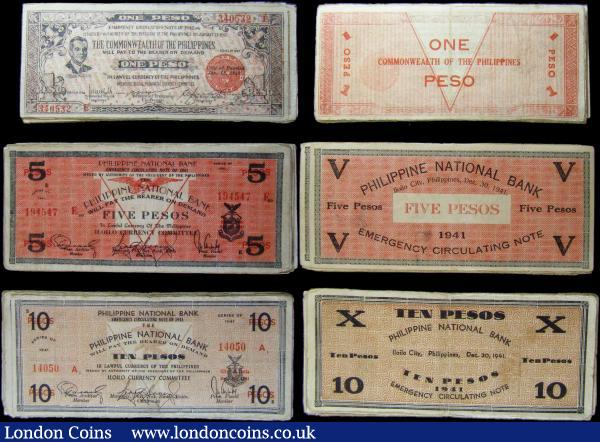 Philippines Guerrilla Notes 1941-1943 (100) 20 Pesos (20), 10 Pesos (20), 5 Pesos (20), 2 Pesos (20), 1 Peso (20) in mixed circulated grades : World Banknotes : Auction 169 : Lot 241