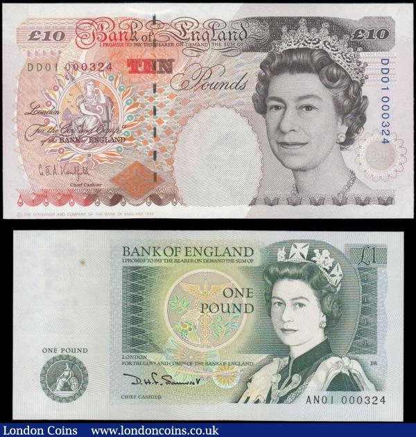 Bank of England matching FIRST RUN LOW serial numbered pair 1 and 10 Pounds number 324 (2) both UNC or about comprising 1 Pound Somerset QE2 & Sir Isaac Newton B341 Green 'W' Reverse serial number AN01 00324, this with a minor stain to marginal area. Along with the 10 Pounds Kentfield QE2 & Charles Dickens B369 Orange-Brown issue with denomination symbol at upper right 1993 serial number DD01 000324. Exceptionally rare and very collectable pair with these low numbers. : English Banknotes : Auction 169 : Lot 25