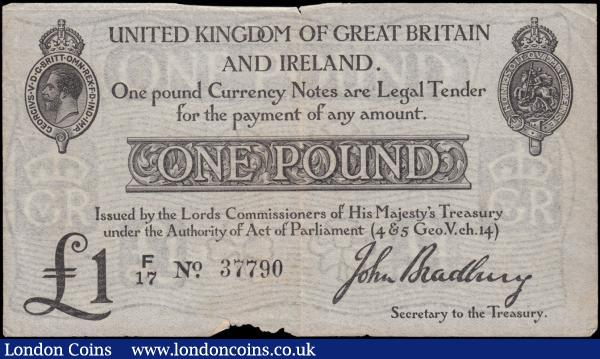 One Pound Bradbury Second Issue T11.1 De La Rue Black Type one prefix with letter only issued 1914 serial number F/17 37790, VF or about and an overall pleasing appearance with a small 3mm tear at centre fold at top margin and a 22x3 mm oblong tear to lower margin and both tears not extending to design.  a scarcer note , now over a century old note watermarked with the denomination, the four British emblems (Rose, thistle, shamrock and daffodil) and the George V Royal cypher. : English Banknotes : Auction 169 : Lot 26