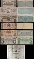 London Coins : A169 : Lot 284 : USA Confederate States & Obsolete Currency (15) in mixed grades from Good/VG to EF and including...