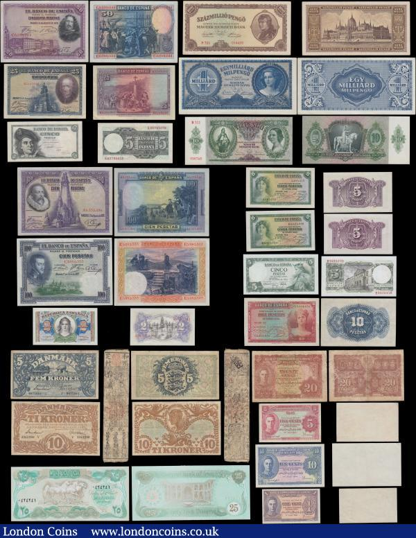 World (36) in mixed grades to about UNC - UNC comprising an attractive selection of Spain issues mid 1920's to 1970's (12) comprising 2 Pesetas Pick 95 series 1938. 5 Pesetas (4) consisting of Pick 85 (2) series 1935, Pick 136 dated 5th March 1948 and Pick 145 dated 22nd June 1954. 10 Pesetas Pick 86 series 1935. 25 Pesetas Pick 74b 15.08.1928 series B3143993. 50 Pesetas Pick 75b 15.08.1928 series C0688044. 100 Pesetas (4) consisting of Pick 69c dated 1st July 1925 series E3082553. Pick 76 dated 15th August 1928 series A6333496. And a near consecutive pair Pick 152 dated 17th November 1970 (2) series  3T 9802216 & 3T 9802218. And 500 Pesetas Pick 153 dated 23rd July 1971. Also a selection of pre and post war Hungary Pengo issues (5) consisting of 10 Pengő Pick 100 dated 22nd December 1936 no star Infront of block number.  100.000.000 Pengő Pick 124 dated 18th March 1946. 1 Milliard Pengo Pick 125 dated 18th March 1946. 1.000.000 Milpengő = 1.000.000.000.000 Pengő Pick 128 dated 24th March 1946. And a 1.000.000.000 Milpengő = 1.000.000.000.000.000 Pengő Pick 131dated 3rd June 1946. Denmark (2) including a 5 Kroner Pick 30i and  10 Kroner Pick 31p. Russia 500 Rubley Pick 14b 1912 (1927-17) signatures Shipov & Chikhirzhin and this the highest denomination of this issue and an impressively large sized note. A denomination set of the Malaya George VI portrait 1941 issues (4) consisting of 1 Cent Pick 6. 5 Cents Pick 7b. 10 Cents Pick 8. And 20 Cents Pick 9a. Japan Hansatsu note. An Iraq 25 Dinars Gulf War Emergency 1990 Pick 74c. Along with a selection of Printer's Promotional and Test notes (9) as Giori Organization uniface William Shakespeare design. Bradbury Wilkinson IBNS 1992 No. 389. Thomas De La Rue IBNS 1991 No. 422 and a 100 Units IBNS 1997. De La Rue Giori 2.000 Units Leonardo Da Vinci. Walsall Security Printing 10 Units IBNS 1993. De la Rue 5 Units Orange with a river and town scene and a 50 Units green with a lumberjacks scene. Also a pink 20 Sterling Unit cash desk and ATM's test note. : World Banknotes : Auction 169 : Lot 292