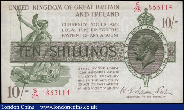 Ten Shillings Fisher T30 Second Issue Red Serial No. omitted issue 1922 LAST series number S25 853114 about EF small Pinhole and Scarce : English Banknotes : Auction 169 : Lot 30
