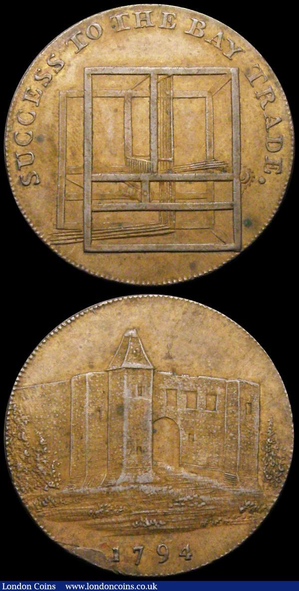 Halfpennies 18th Century (2) Essex - Colchester 1794 Obverse: A view of the Castle/Reverse: Loom, SUCCESS TO THE BAY TRADE, DH9, NEF and scarce, Oxfordshire - Banbury undated Wm.Rusher portrait/The Sun DH1 NEF : Tokens : Auction 169 : Lot 307