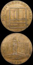 London Coins : A169 : Lot 307 : Halfpennies 18th Century (2) Essex - Colchester 1794 Obverse: A view of the Castle/Reverse: Loom, SU...