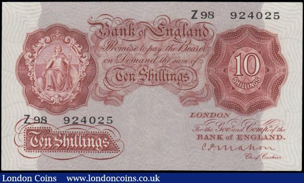 Ten Shillings Mahon B210 Red-brown Britannia medallion issue 1928 FIRST series prefix serial number Z98 924025, GVF and Rare example of the first Britannia medallion Red-Brown design 10 Shillings notes : English Banknotes : Auction 169 : Lot 31