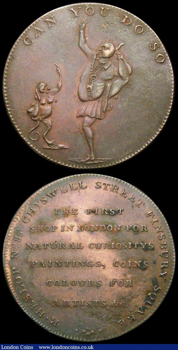 Halfpennies 18th Century Middlesex (2) undated R.Heslop - Contortionist, Obverse: Man and a monkey in antic postures/Reverse: Text in six lines, Plain edge DH336b NEF/GVF, unpriced by Withers, 1795 Chelsea DH277 Obverse: Sailor with a wooden leg presents a petition to Britannia/Reverse: A figure of Hope leaning on an anchor EF toned : Tokens : Auction 169 : Lot 310