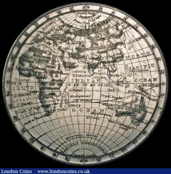 Map of the World : Eastern and Western Hemispheres (c.1820) 74mm diameter undated, in white metal by T.Halliday, possibly struck by Edward Thomason, Eimer 1139a, Obverse: Detailed Map of the Eastern Hemisphere, the continents AFRICA, ASIA, EUROPE and NEW HOLLAND (Australia) identified together with countries and some cities, Reverse: Detailed map of North and South America identified,  together with countries and islands GEF boxed with good surfaces, rare : Medals : Auction 169 : Lot 344