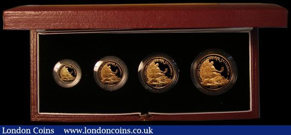 Britannia Gold Proof Set 2007 the 4-coin set comprising £100 One Ounce, £50 Half Ounce, £25 Quarter Ounce and £10 One Tenth Ounce S.PGB29 nFDC-FDC the £100 One Ounce with a small tone spot, in the Royal Mint box of issue with certificate : English Cased : Auction 169 : Lot 392