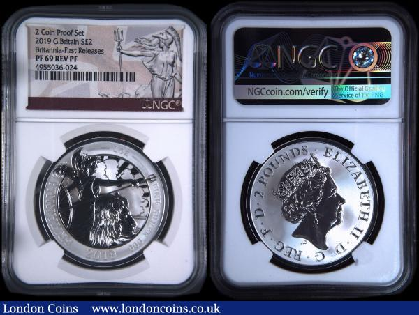Britannia Silver Two Pounds a 2-coin set 2019 comprising Silver Proof in an NGC holder and graded PF69 Ultra Cameo, and Reverse Frosted Silver Proof in an NGC holder and graded PF69 Rev PF, both First Releases, neither type as yet listed by the Standard Catalogue, in the Royal Mint box of issue with certificate : English Cased : Auction 169 : Lot 398