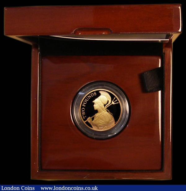 "Britannia Two Pounds 2015 Gold Proof ""The Definitive Britannia"" FDC cased as issued with certificate. Royal Mint issue price £750 : English Cased : Auction 169 : Lot 399"