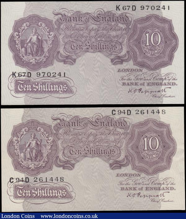 Ten Shillings Peppiatt Second Period World War II Emergency B251 Mauve Britannia medallion issues 1940 (2) serial numbers C94D 261448, EF and K67D 970241, about UNC - UNC. Always collectable and appealing designs, very sought after in higher grades : English Banknotes : Auction 169 : Lot 42