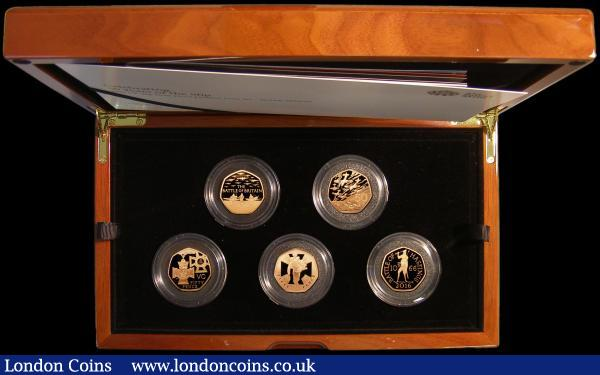 Fifty Years of the Fifty Pence - British Military Set a 5-coin set 2019 Gold Proof Piedforts, S.PGC28, comprising previously issued reverse types: Battle of Britain, D-Day Landings, Victoria Cross - The Award, Victoria Cross - The Heroic Acts, and Battle of Hastings, all coins now dated 2019, FDC in the Royal Mint box of issue with booklet and certificate number 25 of only 50 sets issued, these 2019-dated Fifty Pence Gold Piedfort coins are only available in this 5-coin set, no pieces have been issued individually, a stunning and extremely desirable rare set of great appeal to the modern Gold Specialist : English Cased : Auction 169 : Lot 450